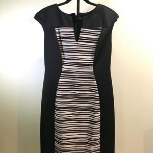 Connected Apparel Black Striped Dress